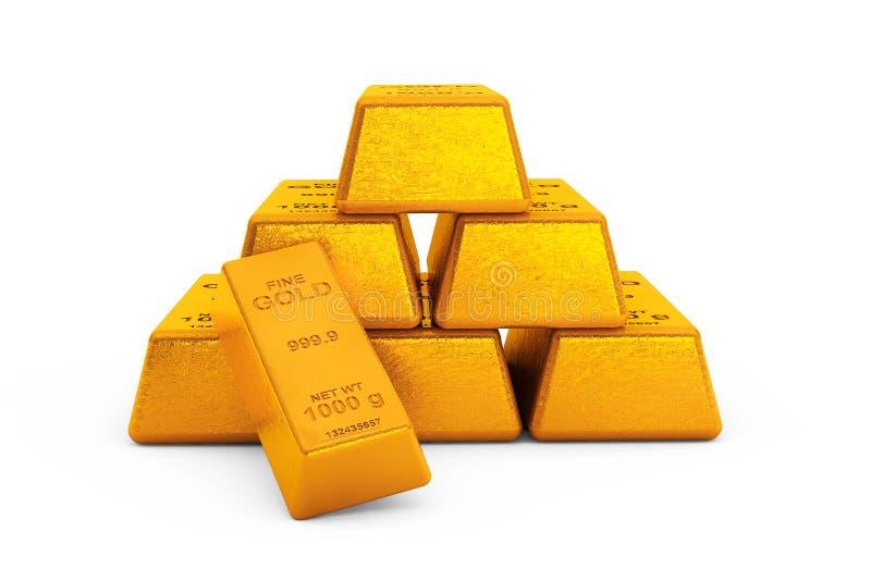 Piramide van Gouden Bars het 3d teruggeven vector illustratie