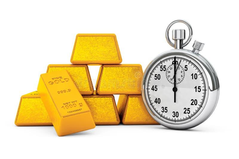Piramide van Gouden Bars met Chronometer het 3d teruggeven vector illustratie