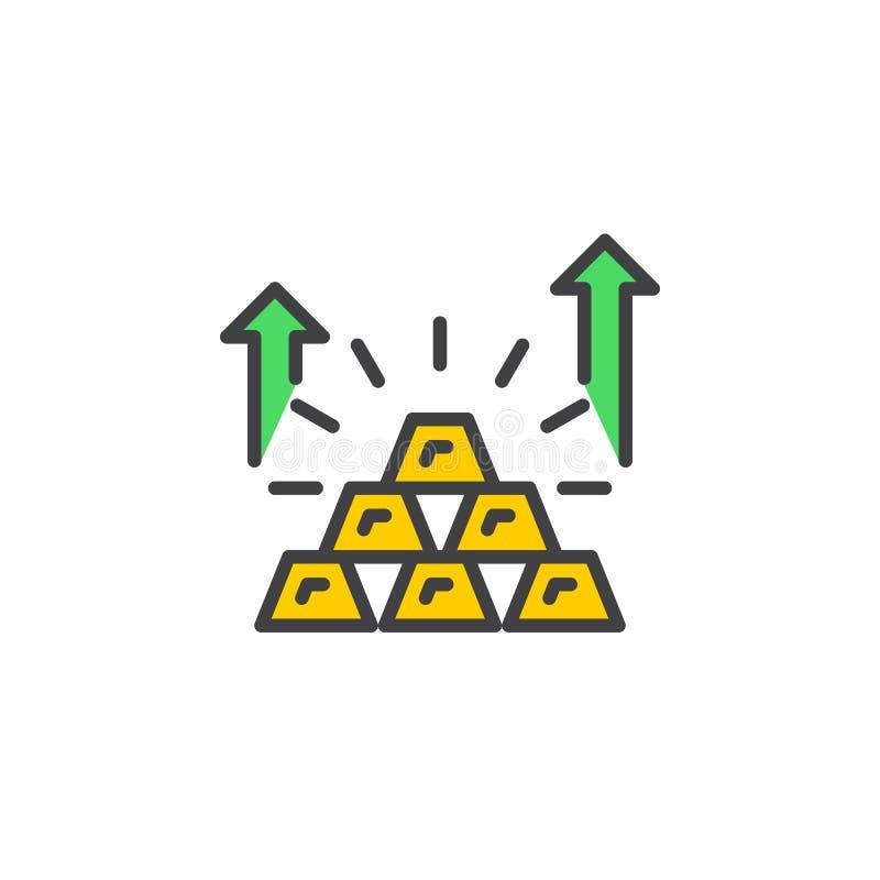 Piramide van het pictogram van de goudstavenlijn, gevuld overzichts vectorteken, lineair kleurrijk pictogram dat op wit wordt geï royalty-vrije illustratie