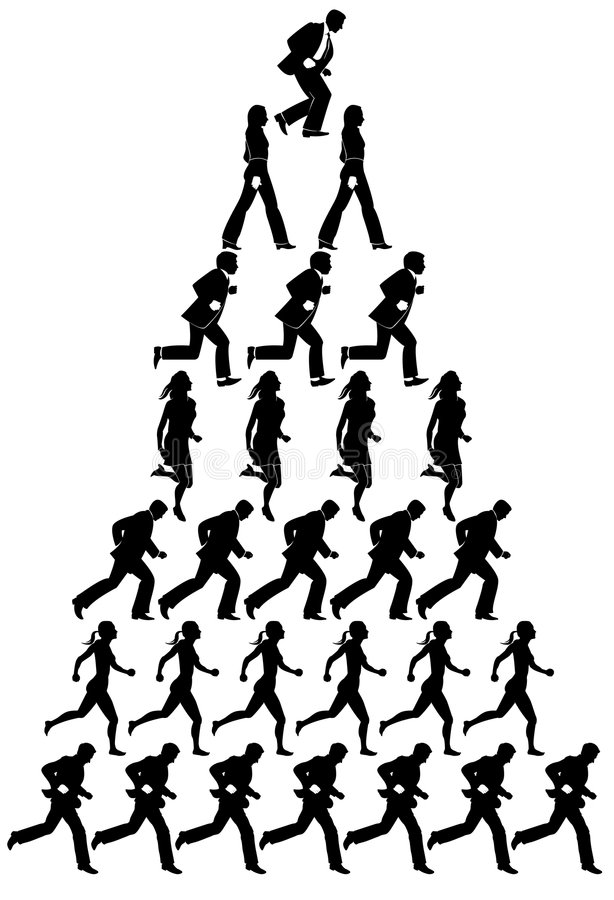 Piramide van lopende mensen vector illustratie