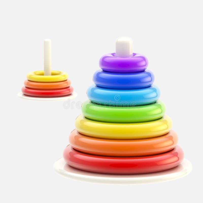 Piramide van plastic geïsoleerde die ringen wordt gemaakt, stock illustratie