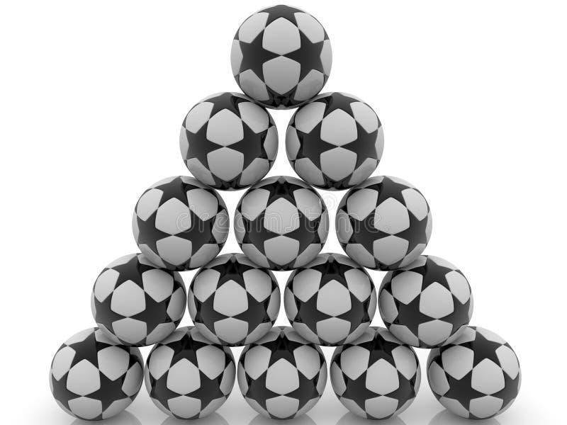 Piramide van voetbalballen met zwarte sterren stock afbeelding