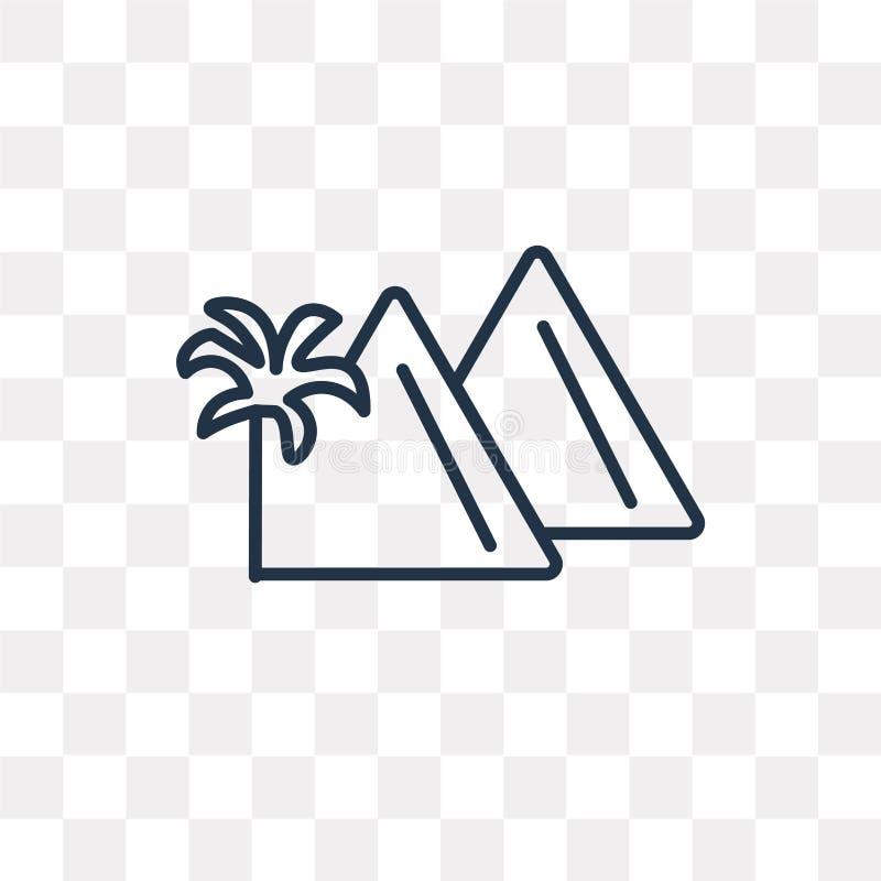 Piramide vectordiepictogram op transparante achtergrond, lineair P wordt geïsoleerd stock illustratie