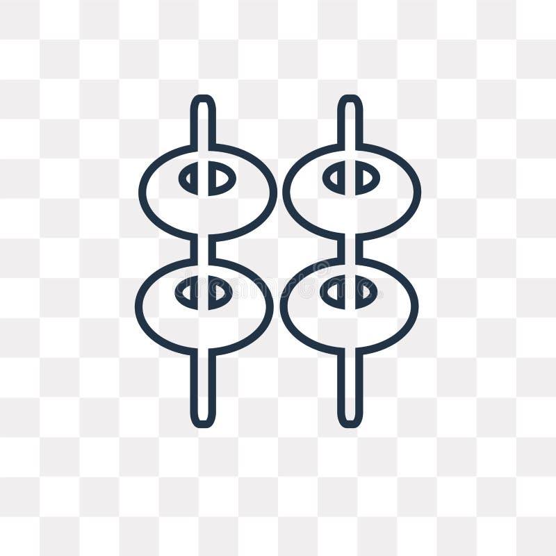 Piramide vectordiepictogram op transparante achtergrond, lineair P wordt geïsoleerd vector illustratie