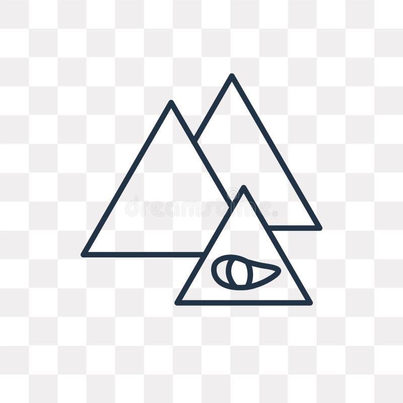 Piramide vectordiepictogram op transparante achtergrond, lineair P wordt geïsoleerd royalty-vrije illustratie