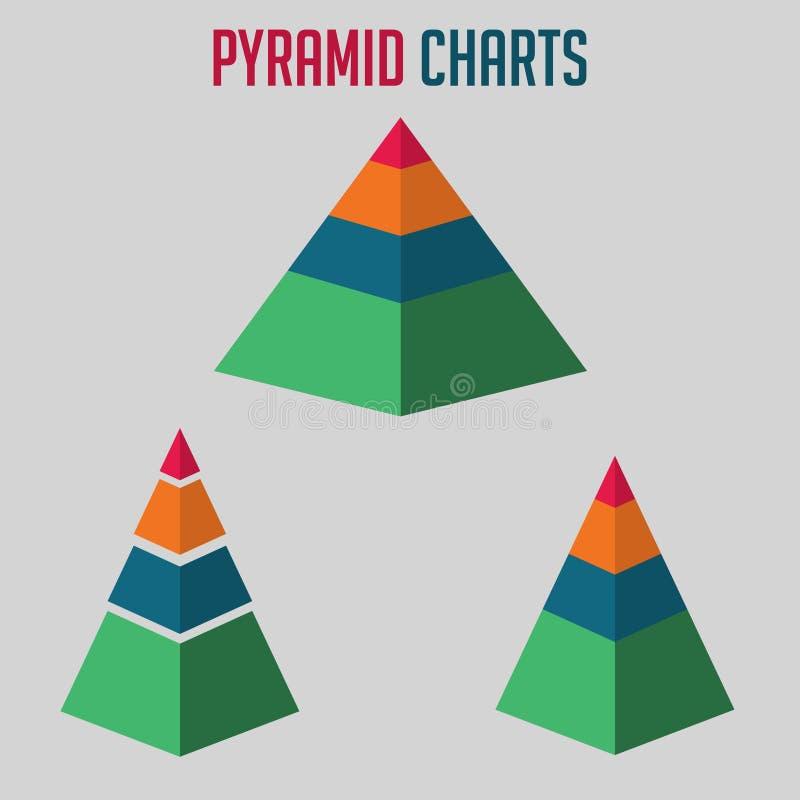 Piramidediagrammen vectorillustratie stock illustratie