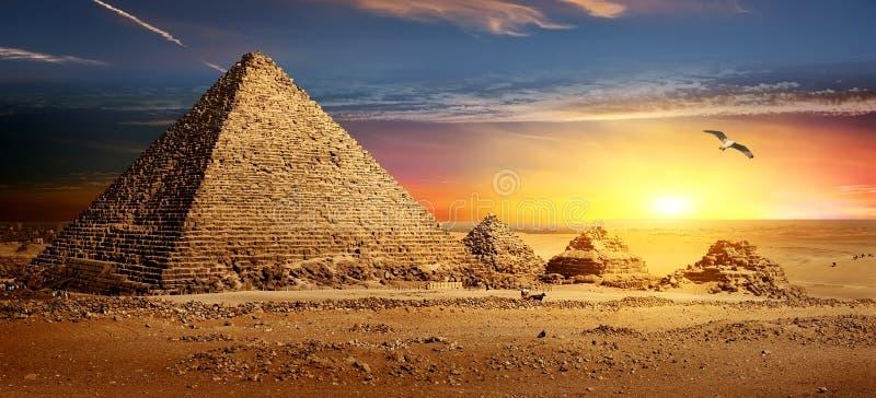 Piramides bij Zonsondergang stock afbeeldingen