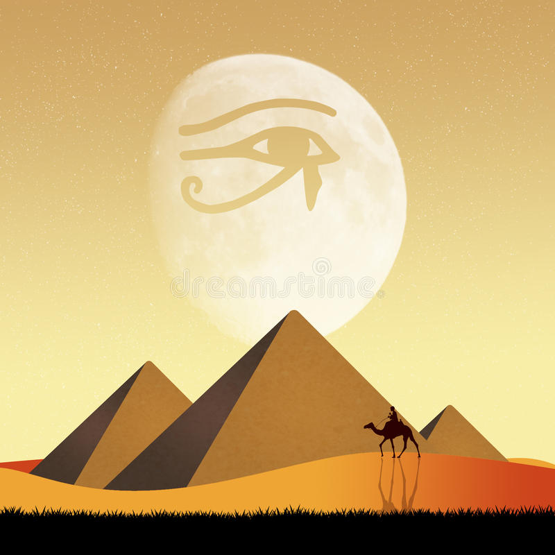 Piramides en Horus-oog stock illustratie