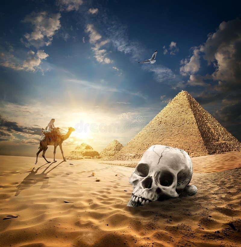 Piramides en schedel stock afbeeldingen