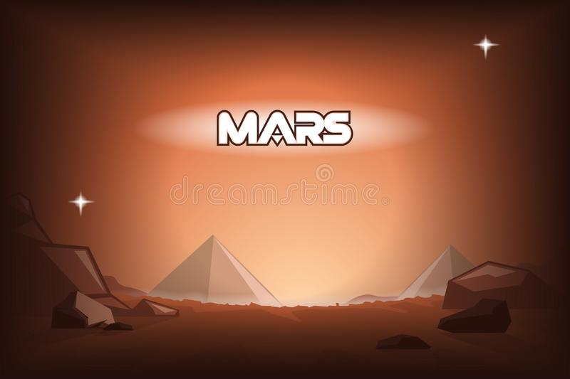Piramides op Mars vector illustratie