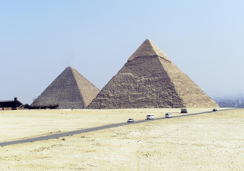 Piramides van Egypte (twee) royalty-vrije stock foto