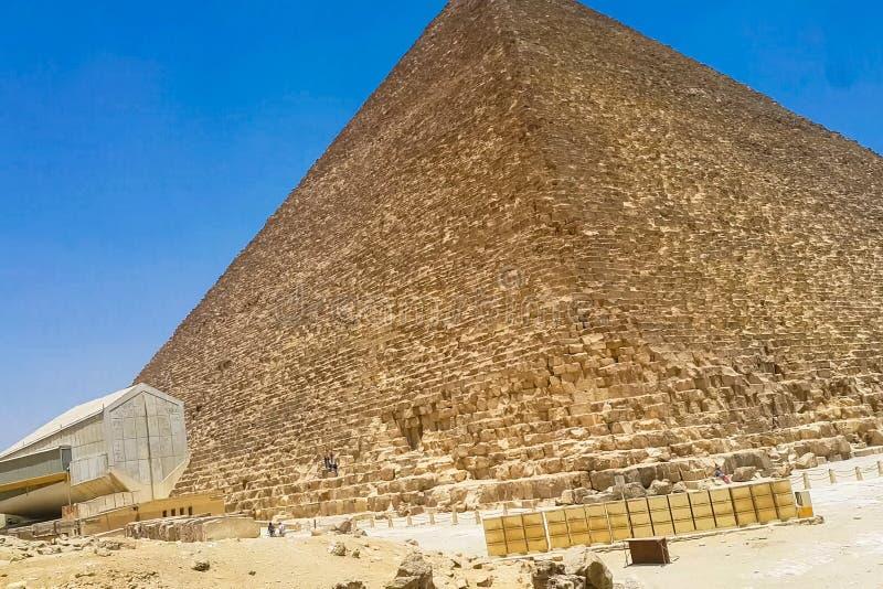 Piramides van Giza Grote Piramides van Egypte Zevende wonder van de wereld Oude megalieten stock afbeeldingen