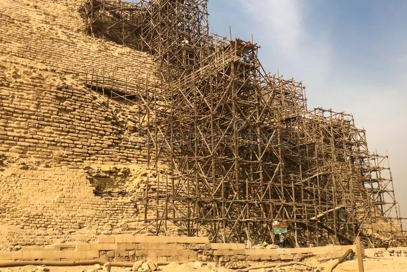 Piramides van Giza Grote Piramides van Egypte Zevende wonder van de wereld Oude megalieten royalty-vrije stock fotografie