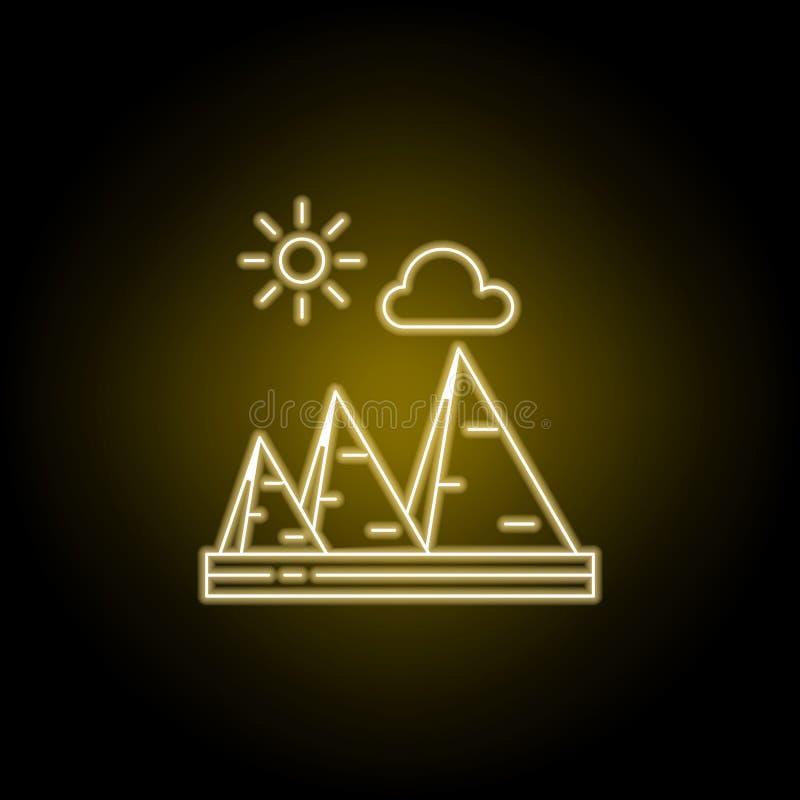 Piramides, zonnig, het pictogram van de wolkenlijn in gele neonstijl Element van landschappenillustratie Tekens en symbolen het l royalty-vrije illustratie
