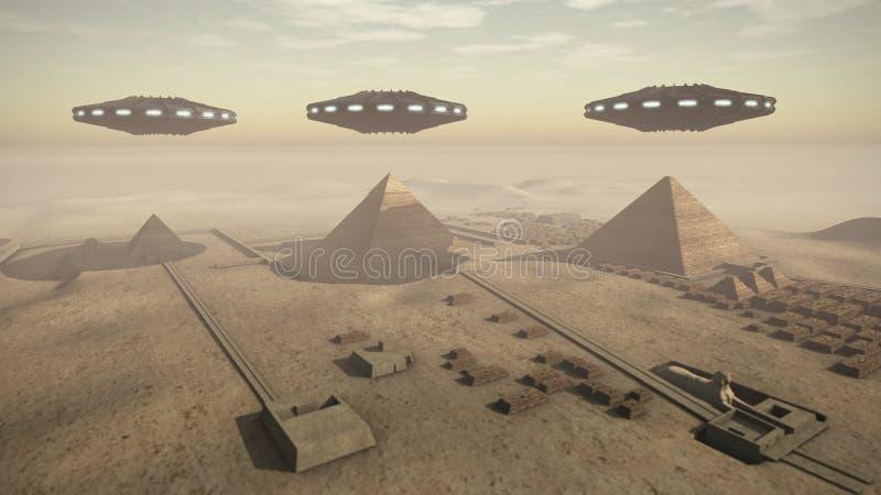 Piramidi dell'Egitto con UFOs illustrazione di stock
