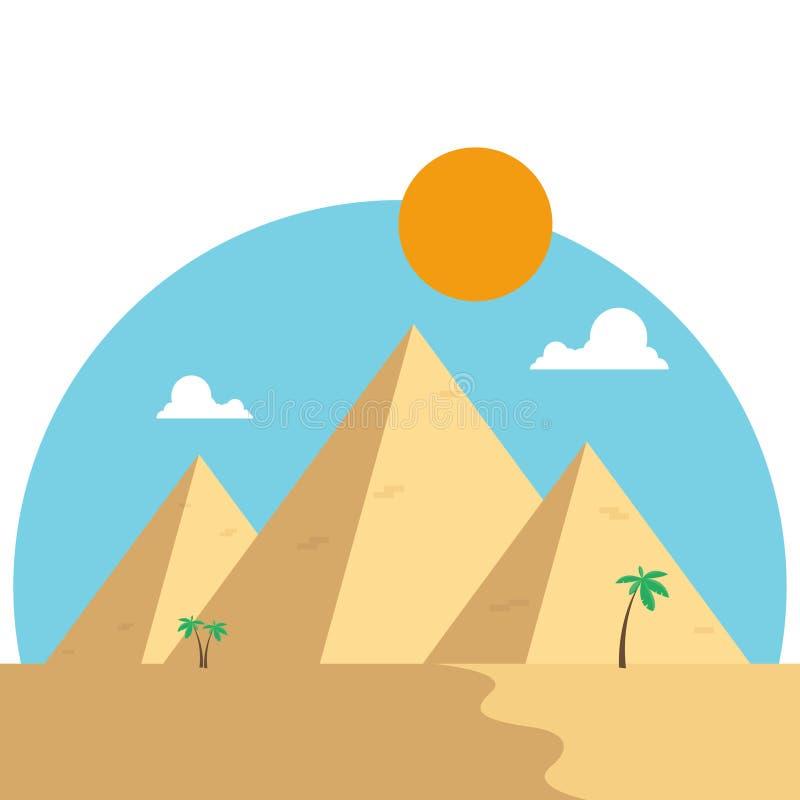 Piramidi dell'Egitto nella progettazione piana del deserto Concetto di viaggio famoso illustrazione vettoriale