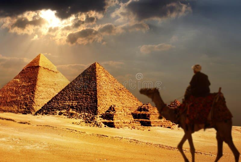 Piramidi di Giza, Cairo, egitto immagini stock libere da diritti