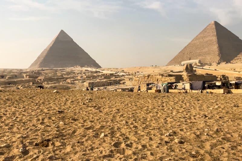 Piramidi di Giza Grandi piramidi dell'Egitto La settima meraviglia del mondo Megaliti antiche immagini stock