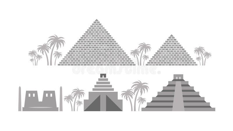 Piramidi e tempie dell'egitto antico, Babilonia, maya royalty illustrazione gratis