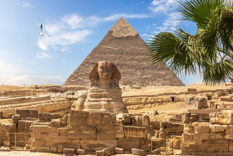 Piramidi egiziane: la grande Sfinge e la piramide di Khafre fotografie stock libere da diritti