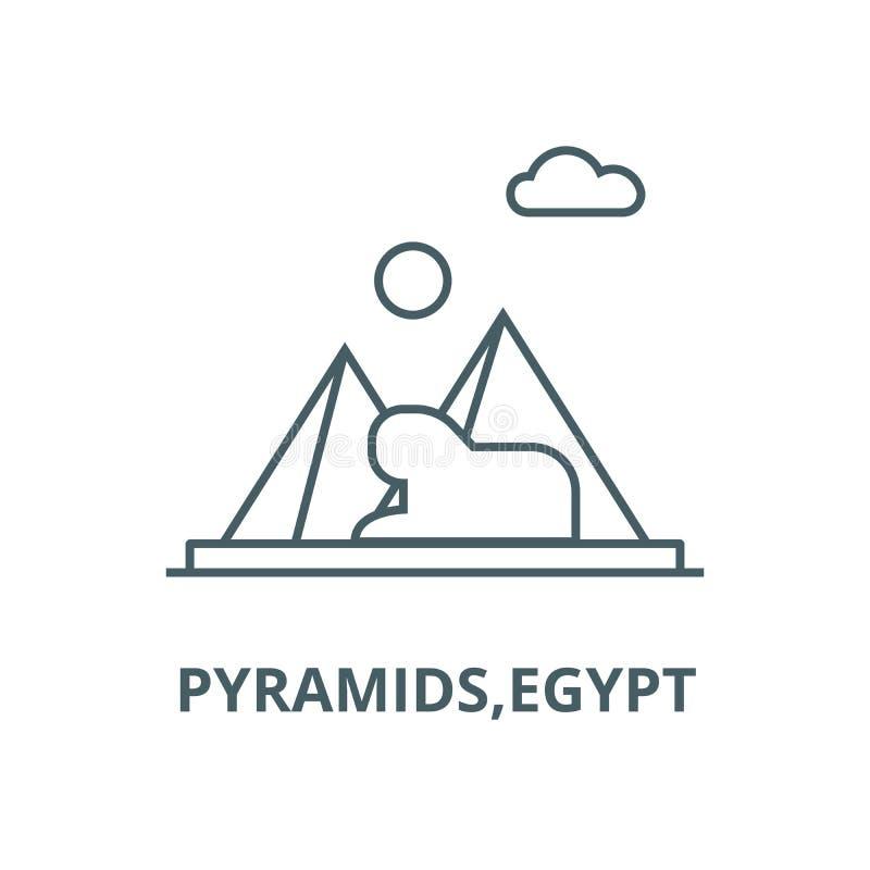 Piramidi, linea icona, concetto lineare, segno del profilo, simbolo di vettore dell'egitto illustrazione vettoriale