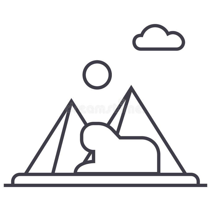 Piramidi, linea icona, segno, illustrazione di vettore dell'egitto su fondo, colpi editabili illustrazione vettoriale