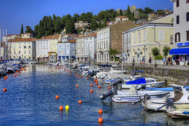 Piran, Σλοβενία, προκυμαία στοκ εικόνες