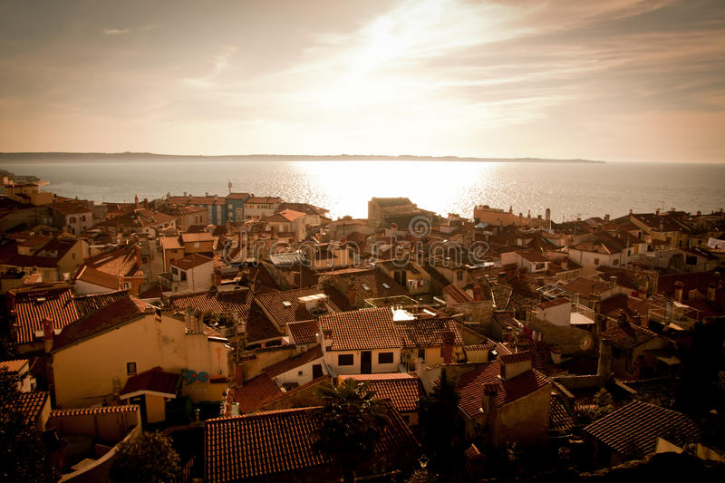 Download Piran stock photo. Image of houses, piran, sunset, roof - 19091486