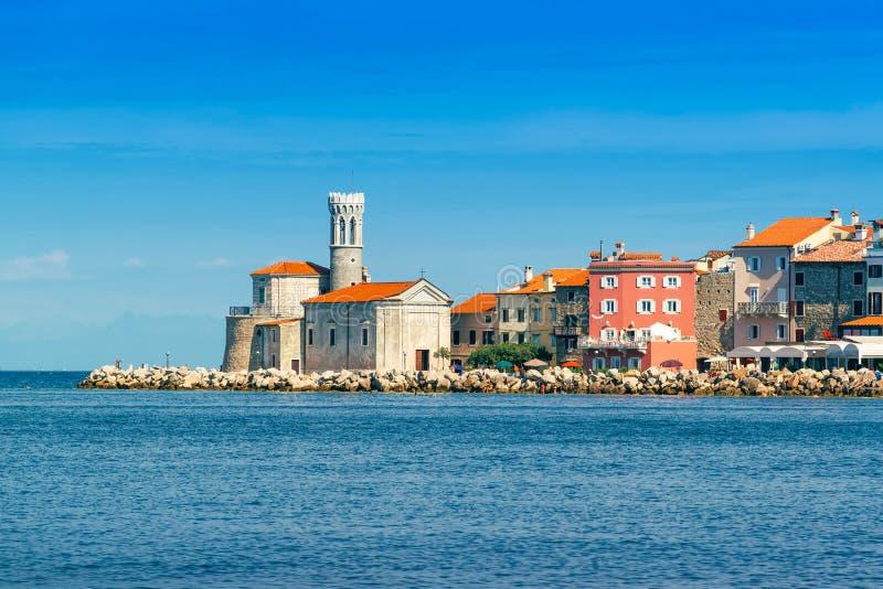 Piran, belle ville médiévale sur la côte de la Slovénie l'Adriatique image libre de droits