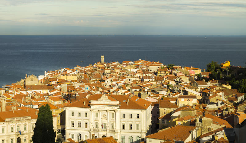 Piran in the light of the rising sun. In the light of the rising sun royalty free stock photo