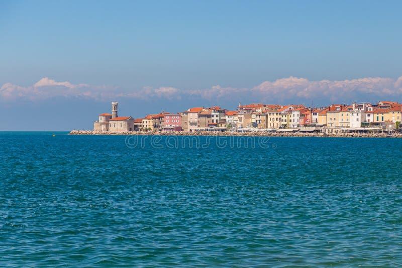 Piran miasteczko w południowo-zachodni Slovenia na zatoce Piran zdjęcia stock