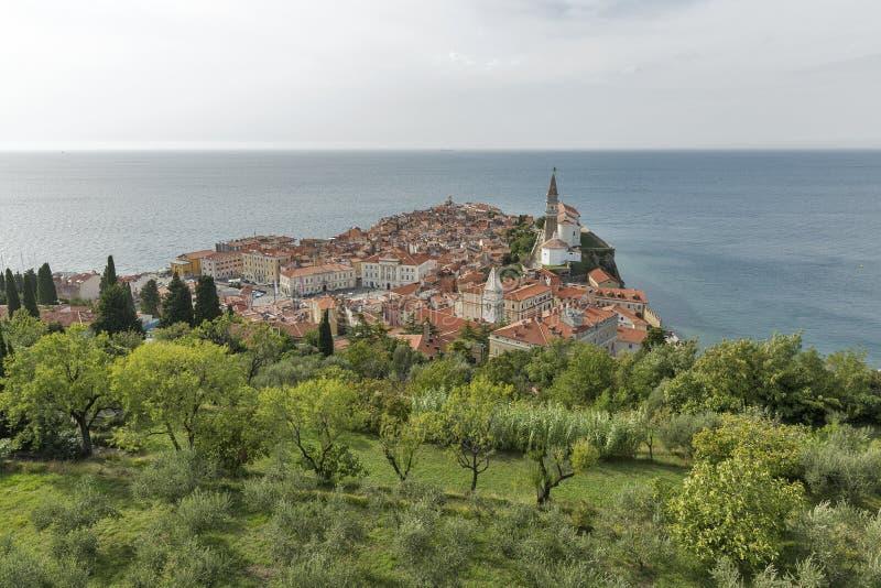 Piran Old Town cityscape, Slovenia. Aerial view. royalty free stock photo