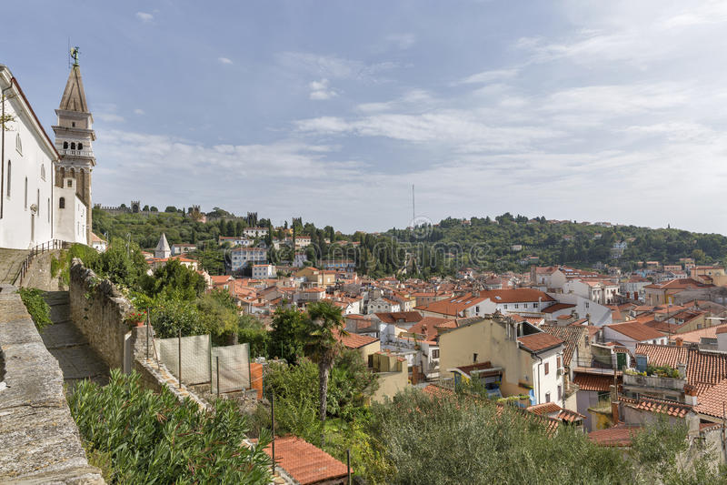 Piran Old Town cityscape, Slovenia. stock image