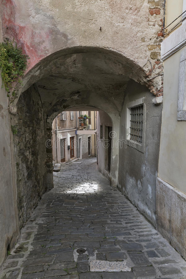 Piran Old Town in Slovenia stock images