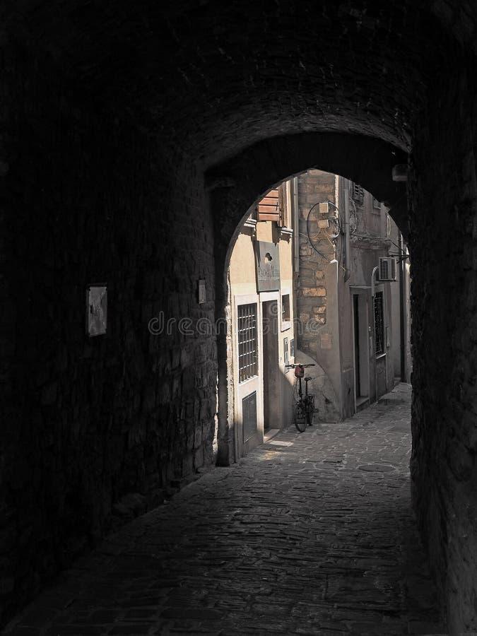 Piran, oude stad in Slovenië stock afbeeldingen