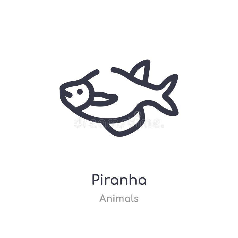 piranhaöversiktssymbol isolerad linje vektorillustration fr?n djursamling redigerbar tunn slaglängdpiranhasymbol på vit stock illustrationer