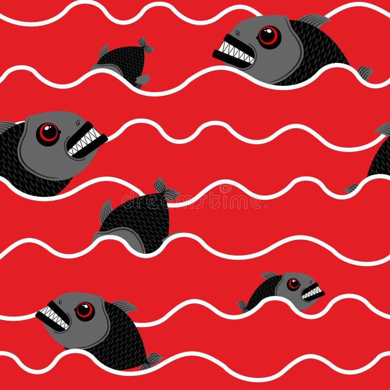 Piranha в океане Кровопролитная вода с морским хищником Красный цвет развевает o бесплатная иллюстрация