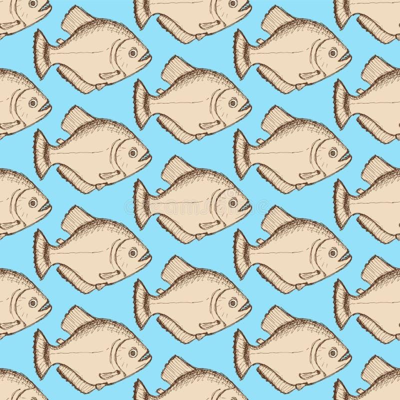Piranha эскиза dangeous в винтажном стиле иллюстрация штока