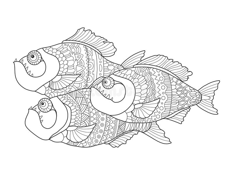 Download Piranha Coloring Book For Adults Vector Stock Vector - Image: 83717612