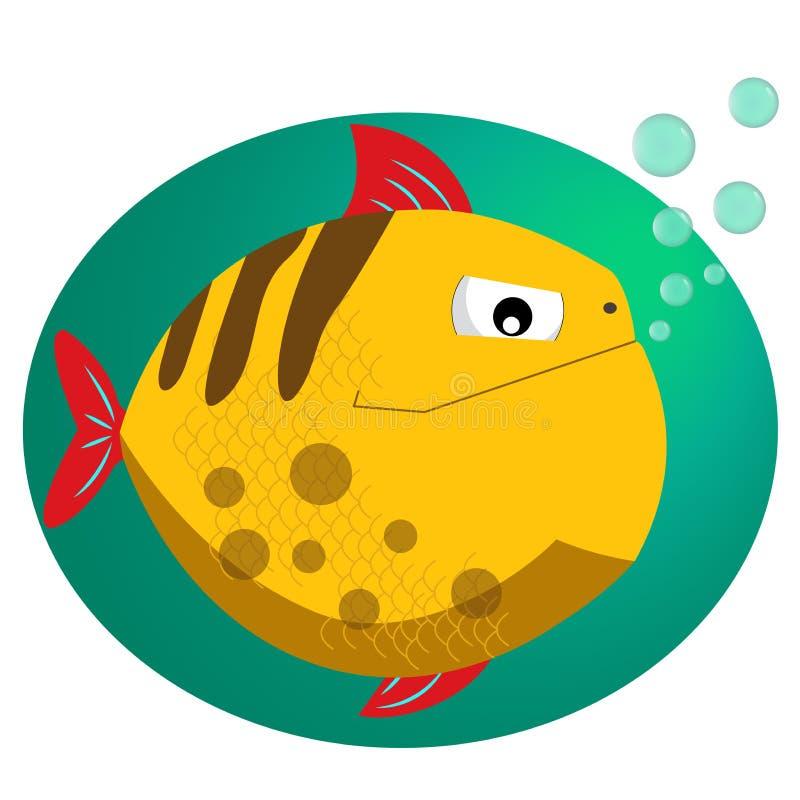Piranha Illustration för vektor för fisklägenhetstil Tropisk fisk, havsfisk Fisk för design för havsfärglägenhet stock illustrationer