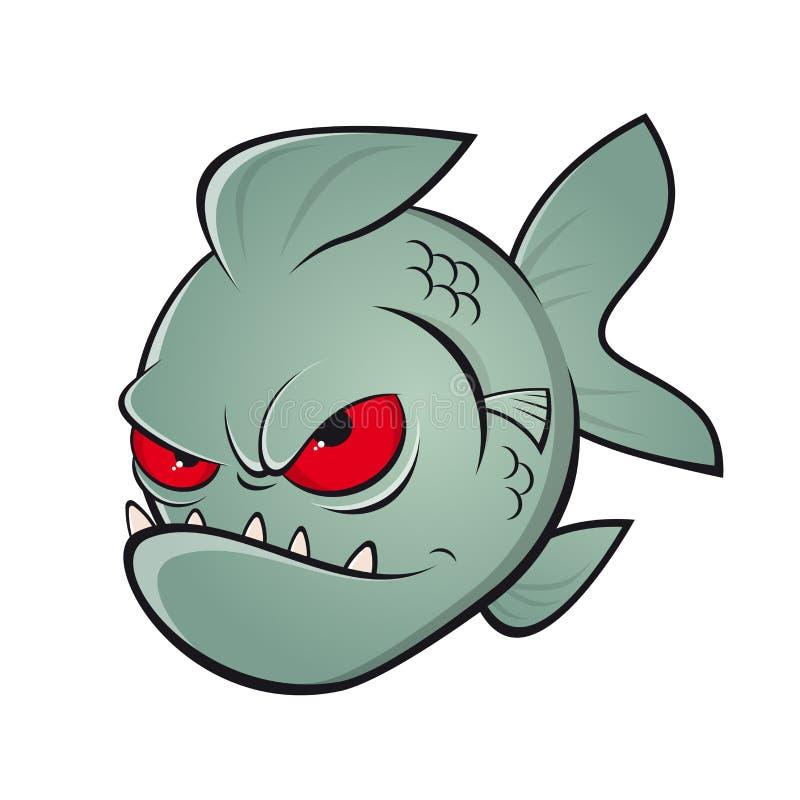 Piranha irritada dos desenhos animados ilustração do vetor