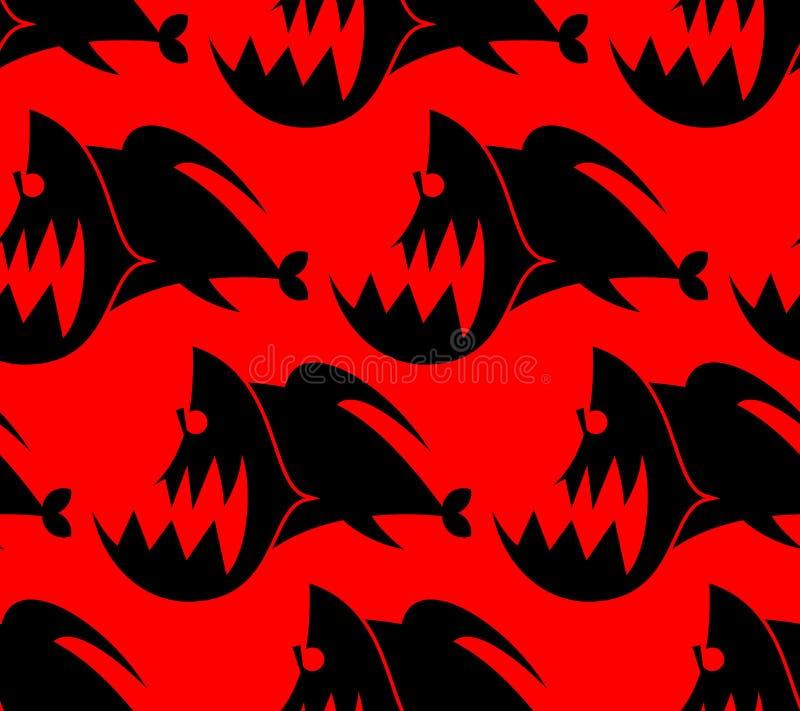 Piranha naadloos patroon Marine Predator-de textuur van vissenamazonië stock illustratie