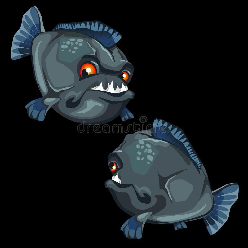 A piranha Toothy pintou a parte dianteira e a parte traseira, peixe do vetor ilustração stock