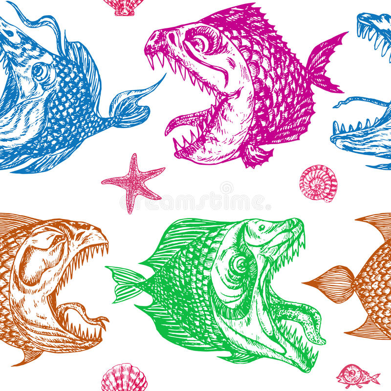 Piranhas fishes profile, open mouth with sharp teeth and long tongue, sea star and shells. Seamless pattern design, hand drawn doodle, sketch in pop art style stock illustration
