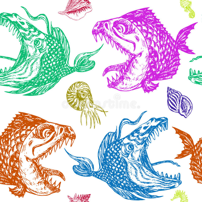 Piranhas fishes profile, open mouth with sharp teeth and long tongue, seahorse, nautilus and shells. Seamless pattern design, hand drawn doodle, sketch in pop stock illustration