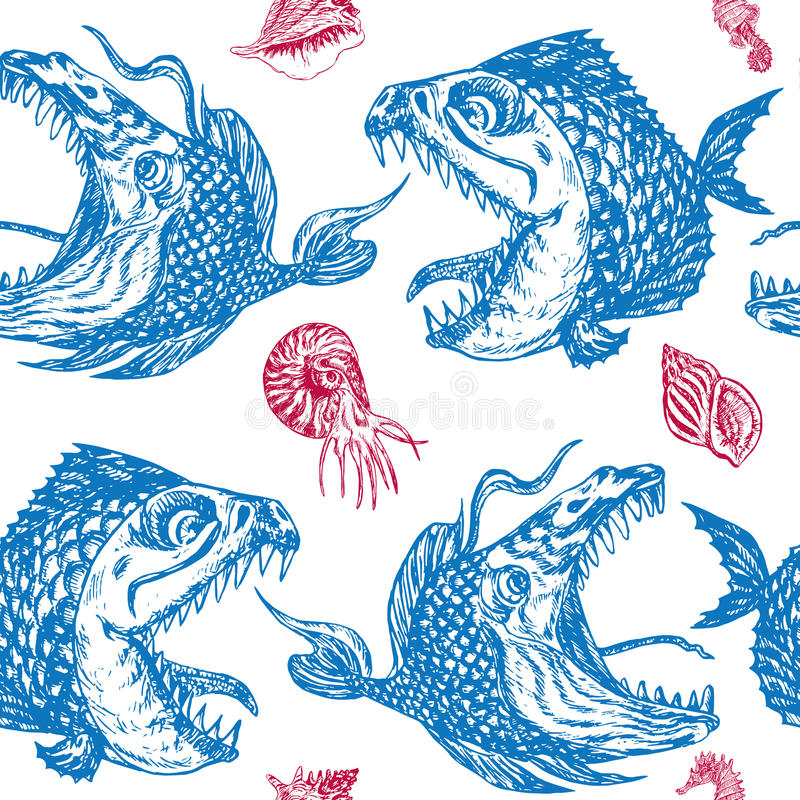 Piranhas fishes profile, open mouth with sharp teeth and long tongue, seahorse, nautilus and shells. Seamless pattern design, hand drawn doodle, sketch in pop vector illustration