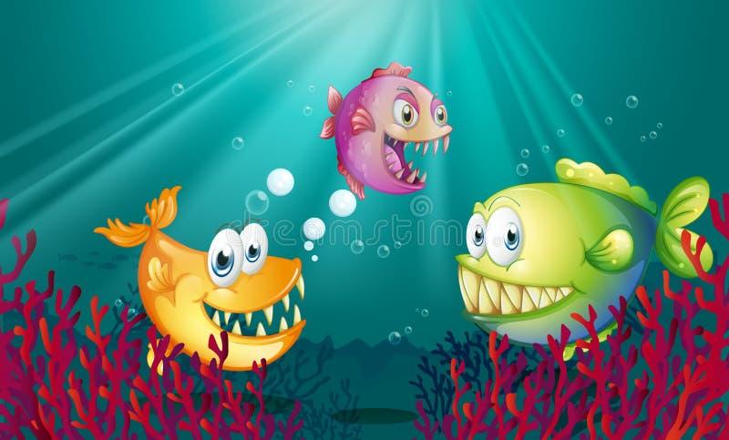 Piranhas under havet med koraller vektor illustrationer