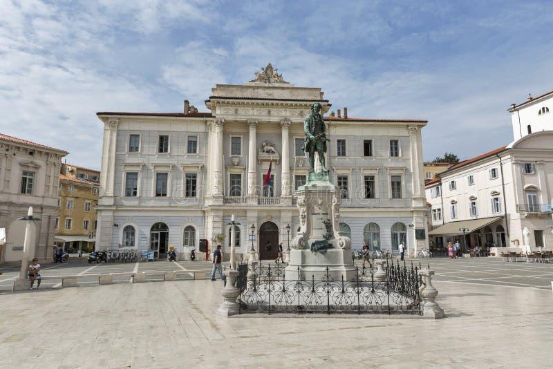PiranStadhuis in Slovenië royalty-vrije stock afbeeldingen
