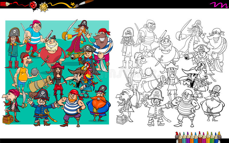 Piratów charakterów kolorystyki grupowa książka royalty ilustracja