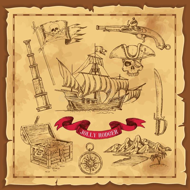 Piratów elementów ręka Rysujący pojęcie royalty ilustracja